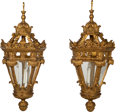 Decorative Arts, Continental:Lamps & Lighting, A Pair of Three-Light Carved Giltwood Pendant Lanterns, 19thcentury. 46 x 18-1/2 x 18-1/2 inches (116.8 x 47.0 x 47.0 cm) (...(Total: 2 Items)