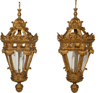 A Pair of Three-Light Carved Giltwood Pendant Lanterns, 19th century 46 x 18-1/2 x 18-1/2 inches (116.8 x 47.0 x 4