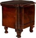 Furniture , An English Regency Mahogany and Leather Bedside Commode with Retractable Step, 19th century. 18 x 18-1/2 x 17-1/4 inches (45...