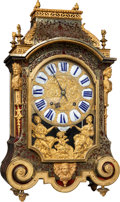 Clocks & Mechanical, A Frères Dumont Louis-XIV Lacquer, Brass, and Gilt Bronze-Mounted Religieuse Table Clock, Besançon, France, circa 1700. Mark...