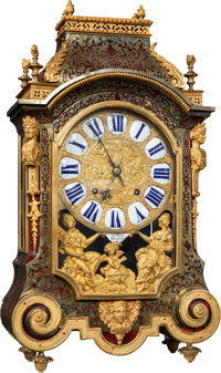 A Frères Dumont Louis-XIV Lacquer, Brass, and Gilt Bronze-Mounted Religieuse Table Clock, Besançon, France...