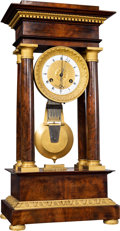 Decorative Arts, French:Other , A Jacquemin French Empire Mahogany and Gilt Bronze Portico Table Regulator Clock, Paris, early 19th century . Marks to face:...