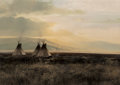 Fine Art - Painting, American, Michael Coleman (American, b. 1946). Cheyenne Camp-IndianRiver, 1976. Oil on board. 13-1/4 x 19-3/8 inches (33.7 x49.2...