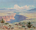Fine Art - Painting, American, Marjorie Tietjens (American, 1895-1987). Taos Canyon. Oil onboard. 19-5/8 x 23-1/2 inches (49.8 x 59.7 cm). Signed lowe...
