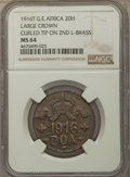German East Africa, German East Africa: German Colony. Wilhelm II brass 20 Heller 1916-T MS64 NGC,...