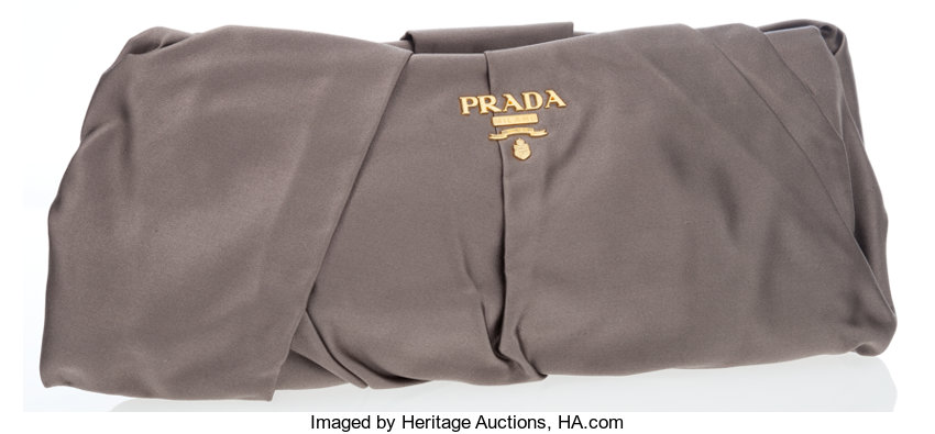 d3f868271f18 australia luxury accessoriesbags prada gray ruched satin clutch bag. acf00  b58b9