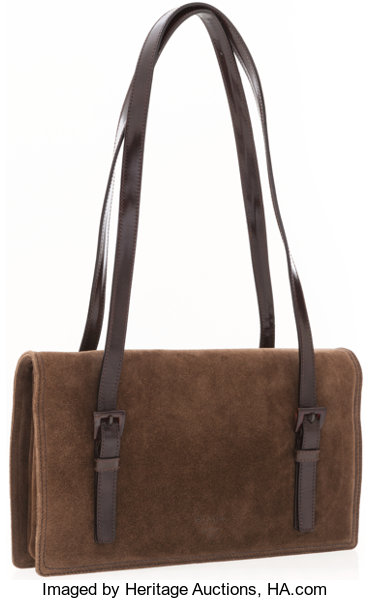d356cc7326c ... official luxury accessoriesaccessories prada brown suede shoulder bag  with leather handles . daf62 afcce