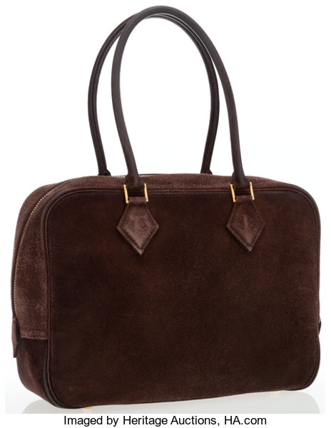 6a68aea7ef5 ... new style hermes 28cm chocolate veau doblis suede plume bag with lot  17001 heritage auctions 1db51 ...