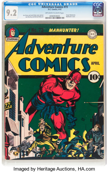Golden Age (1938-1955):Superhero, Adventure Comics #73 (DC, 1942) CGC NM- 9.2 Off-white to whitepages....