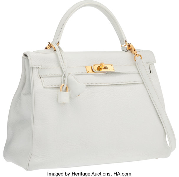 ce0e5b3484a3 ... wholesale luxury accessoriesbags hermes 32cm white clemence leather  retourne kelly bag with goldhardware. 0831a 0d278