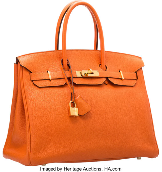5e7adf24c77 ... reduced luxury accessoriesbags hermes 35cm orange h togo leather birkin  bag with gold hardware f390a 397ab