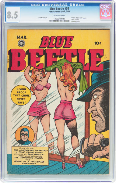 Golden Age (1938-1955):Superhero, Blue Beetle #54 (Fox Features Syndicate, 1948) CGC VF+ 8.5Off-white pages....