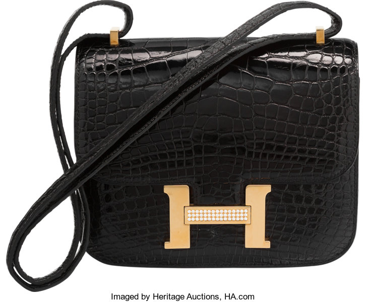 6ddf5b644c82 ... netherlands luxury accessoriesbags hermes 18cm diamond shiny black  alligator constance bag with 18kgold e894f e7b5a