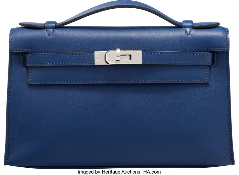 25673062ff1c ... closeout luxury accessoriesbags hermes blue saphir swift leather kelly  pochette bag with palladiumhardware. 5d2a8 44a5a