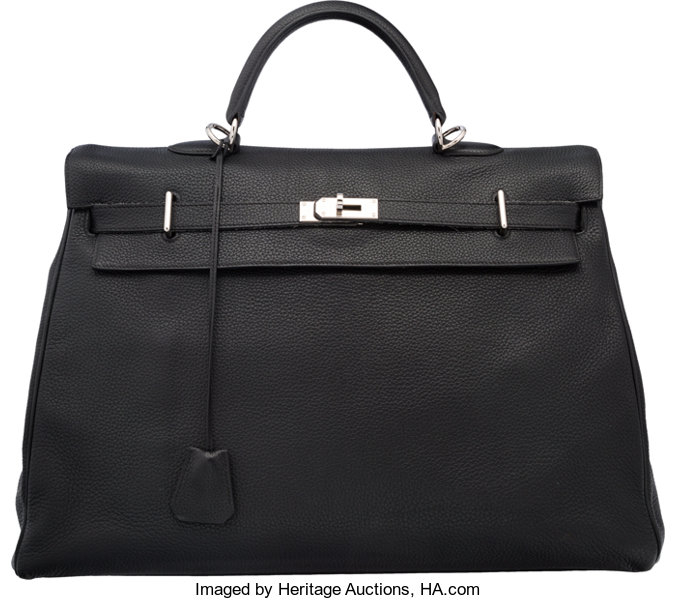 44a7fdf7d34c ... new arrivals luxury accessoriesbags hermes 50cm black clemence leather  travel kelly bag with palladiumhardware. 3d865