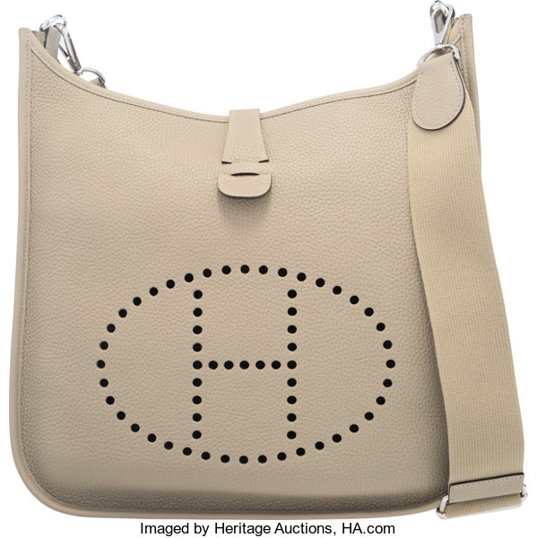 152dbad519 ... czech luxury accessoriesbags hermes sage clemence leather evelyne iii  gm bag with palladiumhardware. f42ce a7986
