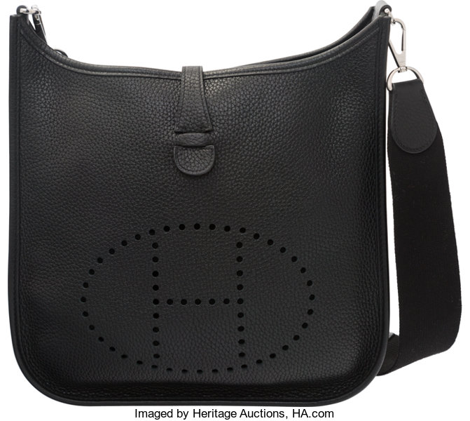 614bf29966 ... italy luxury accessoriesbags hermes black clemence leather evelyne iii  pm bag with palladiumhardware. ae628 3651f