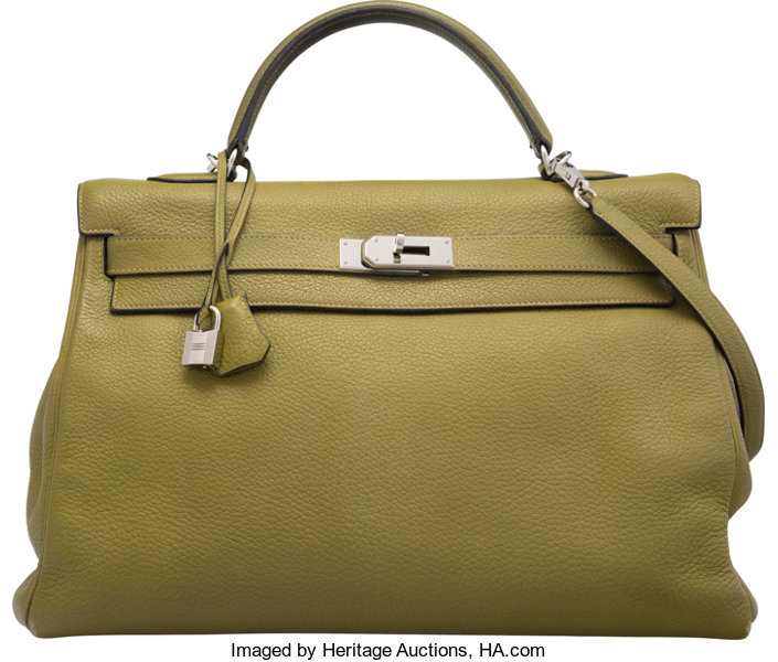 609bec68448 ... promo code for luxury accessoriesbags hermes 40cm vert chartreuse  clemence leather retourne kelly bagwith palladium hardware