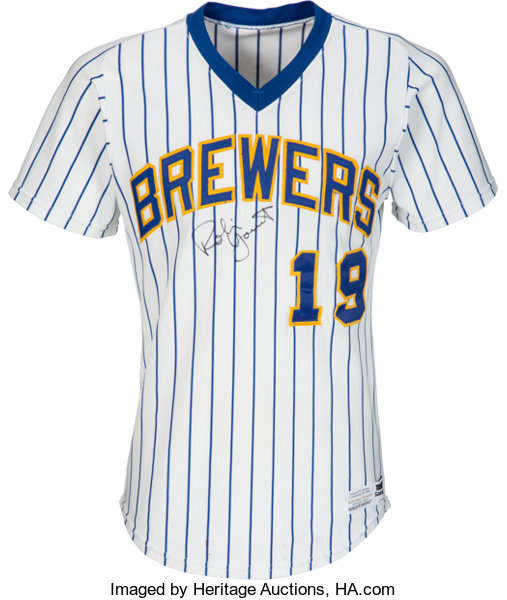 a1037c31e ... baseball collectiblesuniforms 1982 robin yount game worn signed milwaukee  brewers jers.