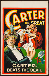 """Carter the Great (1927) Very Fine-. Window Card (14"""" X 22"""") """"Carter Beats the Devil"""". Miscellaneous..."""