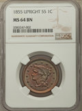 1855 1C Upright 55, MS64 Brown NGC. NGC Census: (104/109). PCGS Population: (136/68). MS64. Mintage 1,574,829. ...(PCGS#...