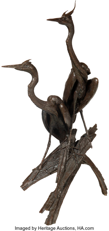 Walter Matia (American, b. 1953)Heron Pair, 2001Bronze with brown patina62 inches (157.5 cm) highEd. 8/16Inscr...