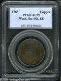 Colonials: , 1783 1C Washington & Independence Cent, Small Military Bust,Engrailed Edge AU55 PCGS....