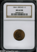1864 1C L On Ribbon MS64 Red and Brown NGC. The tiny L on the ribbon was a nod to James Longacre, designer of the Indian...