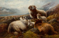 Paintings:Antique  (Pre 1900), Robert Watson (British, 1859-1949). A Scottish Highland Landscape with Sheep, 1892. Oil on canvas. 20-1/4 x 29-3/4 inche...
