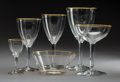 Decorative Arts, French:Other , An Eighty-Three-Piece Baccarat Directoire Pattern Glass Stemware Service with Gilt Rims, Baccarat, France, 20th ... (Total: 83 Items)