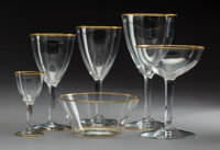 An Eighty-Three-Piece Baccarat Directoire Pattern Glass Stemware Service with Gilt Rims<