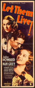 "Movie Posters:Drama, Let Them Live! (Universal, 1937) Folded, Fine-. Insert (14"" X 36""). Drama...."