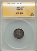 Coins of Hawaii , 1883 10C Hawaii Ten Cents VF35 ANACS. NGC Census: (32/376). PCGS Population: (70/615). Mintage 249,921. ...