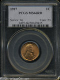 Lincoln Cents: , 1917 1C MS66 Red PCGS....