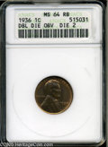 1936 1C Doubled Die Obverse MS64 Red and Brown ANACS. Die 2. Doubling is plainest on the 936 of the date. Lustrous surfa...