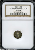 Three Cent Silver: , 1865 3CS MS64 NGC....