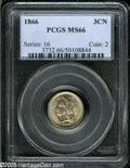 Three Cent Nickels: , 1866 3CN MS66 PCGS....