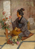Fine Art - Painting, American, J. Charles Arter (American, 1860-1923). A Japanese WomanArranging Flowers. Oil on canvas. 21 x 15 inches (53.3 x 38.1c...