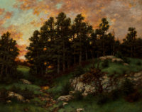 Robert Melvin Decker (American, 1847-1921) Old Pasture, Evening Oil on canvas 24 x 30 inches (61