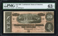 Confederate Notes:1864 Issues, T68 $10 1864 PF-44 Cr. 552 PMG Choice Uncirculated 63 EPQ.. ...