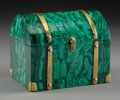 Miscellaneous, A Brass-Mounted and Malachite-Veneered Domed Box, 20th century. 6-1/8 x 7-5/8 x 5-5/8 inches (15.6 x 19.4 x 14.3 cm). ...