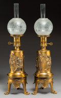 Decorative Arts, French:Lamps & Lighting, A Pair of Ferdinand Barbidienne Neoclassical Gilt Bronze Converted Kerosene Lamps, Paris, late 19th century . Marks: F. BA... (Total: 2 Items)