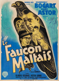 "The Maltese Falcon (Warner Brothers, 1946). Very Good- on Linen. First Post-War Release French Grande (44"" X 60.5&q..."