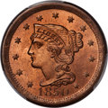 Large Cents, 1850 1C N-7, R.2, MS65+ Red PCGS Gold Shield. CAC....