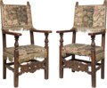 Furniture : Continental, A Pair of Baroque Armchairs with Flemish Tapestry Upholstery, early 18th century. 50-1/4 x 28-3/4 x 27 inches (127.6 x 73.0 ... (Total: 2 Items)