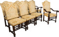 Furniture , A Set of Eight Baroque-Style Walnut Dining Chairs with Velour Brocade Upholstery. 47-1/2 x 24 x 29 inches (120.7 x 61.0 x 73... (Total: 8 Items)