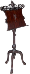 Furniture : Continental, A Continental Art Nouveau Carved Mahogany Music Stand, late 19th century. 56 x 25-1/2 x 19 inches (142.2 x 64.8 x 48.3 cm). ...