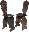 Furniture : Continental, A Pair of Renaissance Revival Carved Wood Hall Chairs, 19th century. 39-1/2 x 11-3/4 x 19 inches (100.3 x 29.8 x 48.3 cm). ... (Total: 2 Items)