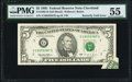 Error Notes:Foldovers, Butterfly Fold Fr. 1985-G $5 1995 Federal Reserve Note. PMG AboutUncirculated 55.. ...
