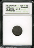 Early Half Dimes: , 1797 H10C 16 Stars--Scratched--ANACS. VF Details, Net Fine 12....